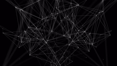 node : Geometric abstract connected dots and lines. Digital technology communication network connection. Green Screen Alpha Matte Loop Aniamtion Background Stock Footage