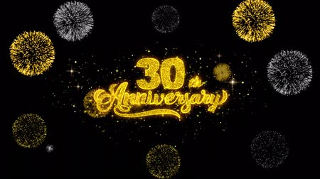 st : 30th Happy Anniversary Golden Greeting Text Appearance Blinking Particles with Golden Fireworks Display 4K for Greeting card, Celebration, Invitation, calendar, Gift, Events, Message, Holiday, Wishes .