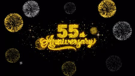 kívánságait : 55th Happy Anniversary Golden Greeting Text Appearance Blinking Particles with Golden Fireworks Display 4K for Greeting card, Celebration, Invitation, calendar, Gift, Events, Message, Holiday, Wishes . Stock mozgókép