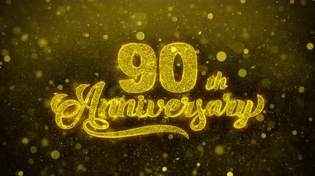 bóia : 90th Happy Anniversary Golden Greeting Text Appearance Blinking Particles with Golden Fireworks Display 4K for Greeting card, Celebration, Invitation, calendar, Gift, Events, Message, Holiday, Wishes .