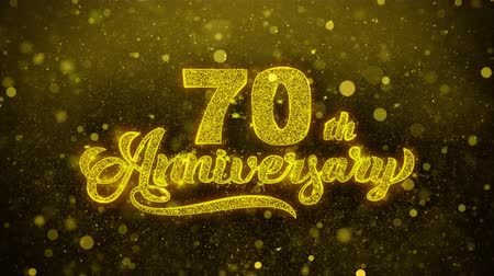 bóia : 70th Happy Anniversary Golden Greeting Text Appearance Blinking Particles with Golden Fireworks Display 4K for Greeting card, Celebration, Invitation, calendar, Gift, Events, Message, Holiday, Wishes .