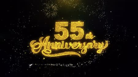 th : 55th Happy Anniversary Written Gold Glitter Particles Spark Exploding Fireworks Display 4K . Greeting card, Celebration, Party Invitation, calendar, Gift, Events, Message, Holiday, Wishes Festival Stock Footage