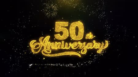 慶典 : 50th Happy Anniversary Written Gold Glitter Particles Spark Exploding Fireworks Display 4K . Greeting card, Celebration, Party Invitation, calendar, Gift, Events, Message, Holiday, Wishes Festival
