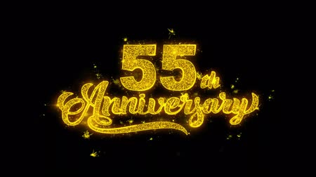 慶典 : 55th Happy Anniversary Typography Written with Golden Particles Sparks Fireworks Display 4K. Greeting card, Celebration, Party Invitation, calendar, Gift, Events, Message, Holiday, Wishes Festival