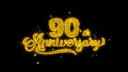 obrigado : 90th Happy Anniversary Typography Written with Golden Particles Sparks Fireworks Display 4K. Greeting card, Celebration, Party Invitation, calendar, Gift, Events, Message, Holiday, Wishes Festival