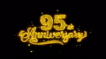 bóia : 95th Happy Anniversary Typography Written with Golden Particles Sparks Fireworks Display 4K. Greeting card, Celebration, Party Invitation, calendar, Gift, Events, Message, Holiday, Wishes Festival
