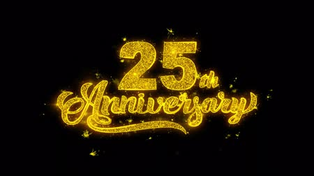 th : 25th Happy Anniversary Typography Written with Golden Particles Sparks Fireworks Display 4K. Greeting card, Celebration, Party Invitation, calendar, Gift, Events, Message, Holiday, Wishes Festival