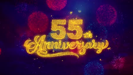 bóia : 55th Happy Anniversary Greeting Text with Particles and Sparks Colored Bokeh Fireworks Display 4K. for Greeting card, Celebration, Party Invitation, calendar, Gift, Events, Message, Holiday, Wishes.
