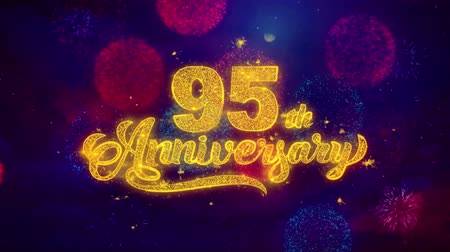 th : 95th Happy Anniversary Greeting Text with Particles and Sparks Colored Bokeh Fireworks Display 4K. for Greeting card, Celebration, Party Invitation, calendar, Gift, Events, Message, Holiday, Wishes. Stock Footage