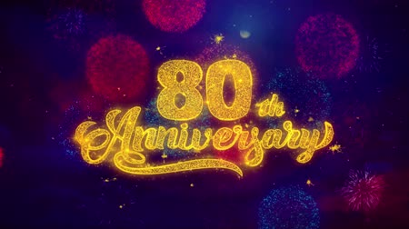 bóia : 80th Happy Anniversary Greeting Text with Particles and Sparks Colored Bokeh Fireworks Display 4K. for Greeting card, Celebration, Party Invitation, calendar, Gift, Events, Message, Holiday, Wishes.
