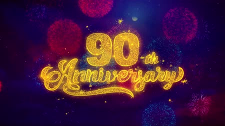 th : 90th Happy Anniversary Greeting Text with Particles and Sparks Colored Bokeh Fireworks Display 4K. for Greeting card, Celebration, Party Invitation, calendar, Gift, Events, Message, Holiday, Wishes.