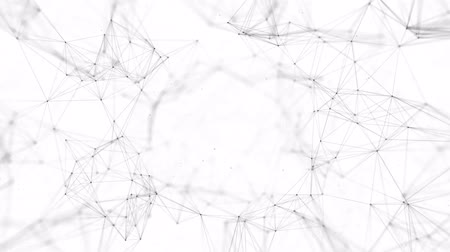 достигать : Abstract background with connecting dots and lines. Distribution of triangular shapes in space. Big data. Network connection structure. 3D Business Presentation Seamless Loop Background.