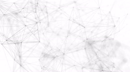 global iş : Black white plexus with dots, lines, triangles. for social networks, the Internet, science, information, computer networks, technologies Loop animation