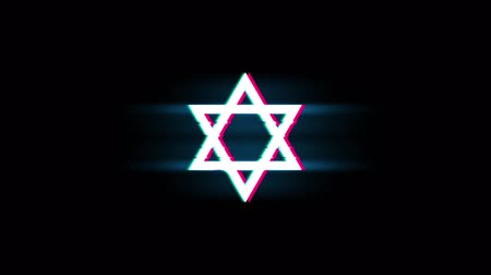 jodendom : David The Jewish star Religion Symbol on Glitch Led Screen Retro Vintage Display Animation 4K Animation Seamless Loop Alpha Channel. Stockvideo