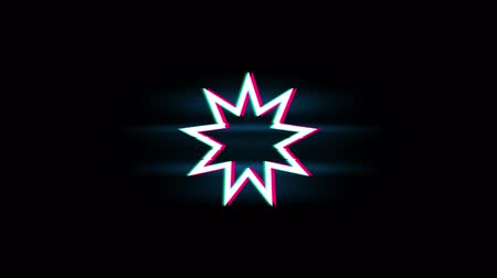 eşitlik : Bahai Nine pointed star Bahaism Symbol on Glitch Led Screen Retro Vintage Display Animation 4K Animation Seamless Loop Alpha Channel. Stok Video