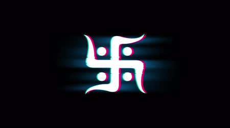 motif : Hindu, holy, indian, religion, swastik, swastika Symbol on Glitch Led Screen Retro Vintage Display Animation 4K Animation Seamless Loop Alpha Channel.