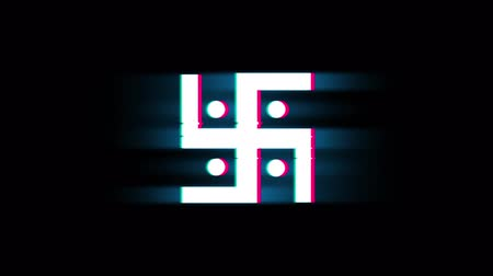 divinity : Hindu, holy, indian, religion, swastik, swastika Symbol on Glitch Led Screen Retro Vintage Display Animation 4K Animation Seamless Loop Alpha Channel.