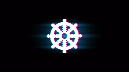 wheel of dharma : Wheel of Dharma Buddhism religion Symbol on Glitch Led Screen Retro Vintage Display Animation 4K Animation Seamless Loop Alpha Channel. Stock Footage