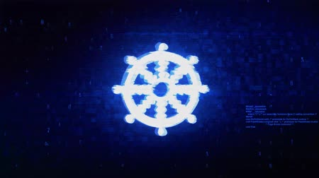gong : Wheel of Dharma Buddhism religion Symbol Abstract Digital Pixel Noise Glitch Error Video Damage Signal Loop 4K Animation.