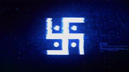 labirent : Hindu, holy, indian, religion, swastik, swastika Symbol Abstract Digital Pixel Noise Glitch Error Video Damage Signal Loop 4K Animation.