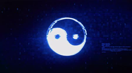 stilize : Yin Yang Taoism buddhism daoism religion Symbol Abstract Digital Pixel Noise Glitch Error Video Damage Signal Loop 4K Animation. Stok Video