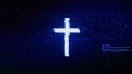 crucified : Church Cross Christianity Religion Symbol Abstract Digital Pixel Noise Glitch Error Video Damage Signal Loop 4K Animation. Stock Footage