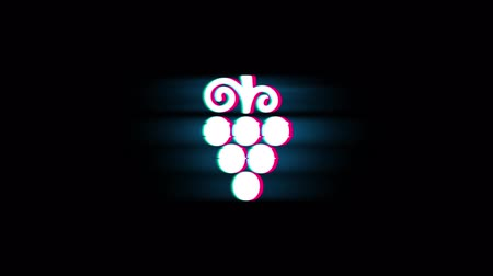 winogrona : Bunch, food, fruit, grape, grapes Symbol on Glitch Led Screen Retro Vintage Display Animation 4K Animation Seamless Loop Alpha Channel. Wideo