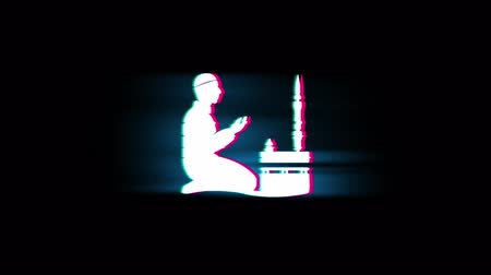 meditacion : Islámico, rezar, rezar, Ramadán, religión Símbolo en la pantalla LED Glitch Retro Vintage Display Animación 4K Animación Seamless Loop Alpha Channel. Archivo de Video