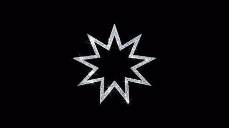 persie : Bahai Nine pointed star Bahaism Icon Sparkling Shining White Blinking Particles Diamond Glitter Loop Light 4K Animation Alpha Channel.
