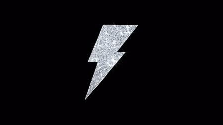püskül : Energy Flash Icon Sparkling Shining White Blinking Particles Diamond Glitter Loop Light 4K Animation Alpha Channel.