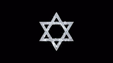 żyd : David The Jewish star Religion Icon Sparkling Shining White Blinking Particles Diamond Glitter Loop Light 4K Animation Alpha Channel.