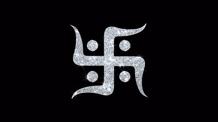 sanskrit : Hindu, holy, indian, religion, swastik, swastika Icon Sparkling Shining White Blinking Particles Diamond Glitter Loop Light 4K Animation Alpha Channel.