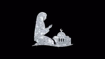 обряд : Dua,namaz,praying,islam,islamic Icon Sparkling Shining White Blinking Particles Diamond Glitter Loop Light 4K Animation Alpha Channel.