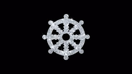 felvilágosodás : Wheel of Dharma Buddhism religion Icon Sparkling Shining White Blinking Particles Diamond Glitter Loop Light 4K Animation Alpha Channel. Stock mozgókép