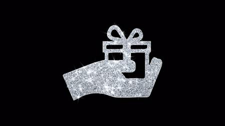 kerstpakket : Birthday, box, gift, giftbox, hand, give Icon Sparkling Shining White Blinking Particles Diamond Glitter Loop Light 4K Animation Alpha Channel. Stockvideo