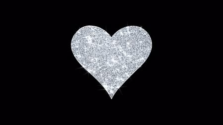 tréfacsináló : Playing card heart suit Icon Sparkling Shining White Blinking Particles Diamond Glitter Loop Light 4K Animation Alpha Channel.