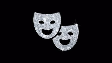 disfarçar : Drama, play, theater mask Icon Sparkling Shining White Blinking Particles Diamond Glitter Loop Light 4K Animation Alpha Channel.