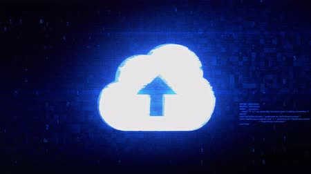 síťování : Cloud upload, cloud data, online storage Symbol Abstract Digital Pixel Noise Glitch Error Video Damage Signal Loop 4K Animation. Dostupné videozáznamy