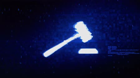 veredito : Justice, Hammer Judge Court, law Symbol Abstract Digital Pixel Noise Glitch Error Video Damage Signal Loop 4K Animation.