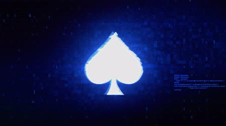 blackjack : Playing card spades Symbol Abstract Digital Pixel Noise Glitch Error Video Damage Signal Loop 4K Animation.