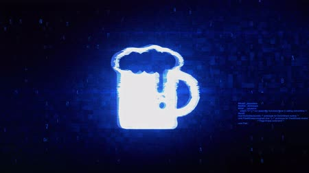 quartilho : Beer, beer mug, cheers, glass beer Symbol Abstract Digital Pixel Noise Glitch Error Video Damage Signal Loop 4K Animation. Stock Footage