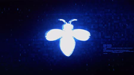 komar : Bug, insect, nature, wasp Symbol Abstract Digital Pixel Noise Glitch Error Video Damage Signal Loop 4K Animation.