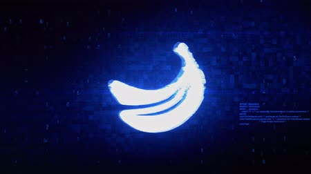 descamação : Banana, bananas, food, fruit Symbol Abstract Digital Pixel Noise Glitch Error Video Damage Signal Loop 4K Animation.