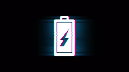 charge : Battery Electricity Symbol on Glitch Led Screen Retro Vintage Display Animation 4K Animation Seamless Loop Alpha Channel.