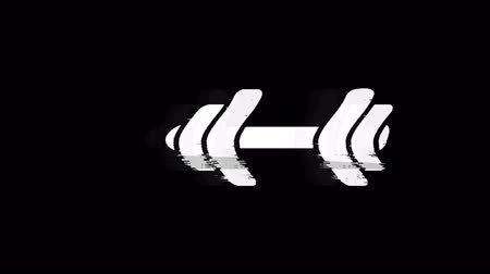 súlyzó : Barbell, dumbbell, exercise Glith Icon Old Vintage Twitched Bad Signal Screen Effect 4K Animation. Twitch, Noise, Glitch Loop with Alpha Channel.