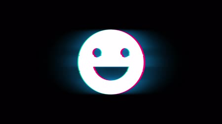 mascot : Big Smile Emoji Symbol on Glitch Led Screen Retro Vintage Display Animation 4K Animation Seamless Loop Alpha Channel.