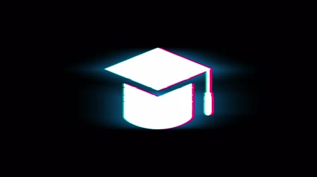graduação : Education, Graduation cap, University hat Symbol on Glitch Led Screen Retro Vintage Display Animation 4K Animation Seamless Loop Alpha Channel.