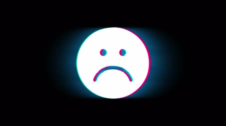 bad mood : Unhappy Face Symbol Symbol on Glitch Led Screen Retro Vintage Display Animation 4K Animation Seamless Loop Alpha Channel.