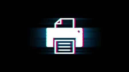 impressão digital : Printer Print Computer Symbol on Glitch Led Screen Retro Vintage Display Animation 4K Animation Seamless Loop Alpha Channel. Stock Footage