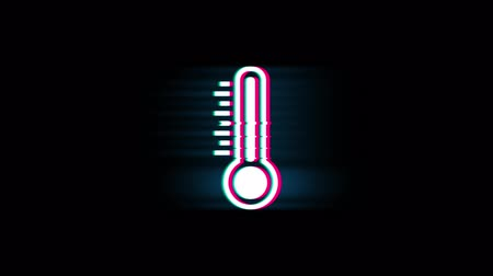 sıva : Thermometer Medicine Para Mercury Symbol on Glitch Led Screen Retro Vintage Display Animation 4K Animation Seamless Loop Alpha Channel.